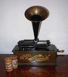 Drawing of an Edison wax cylinder Phonograph