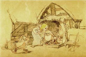 Snow White kissing the heads of the dwarves as they leave the cottage